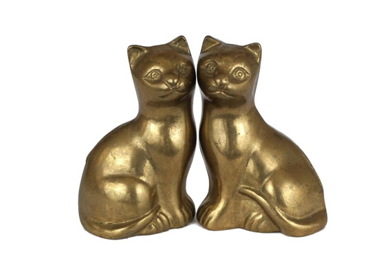 Brass Sitting Cat Figurine Pair, Animal Lover Gifts