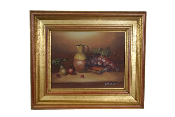 Pottery Pitcher and Fruit Painting Signed Frank Lean, Still Life Kitchen Wall Art with Grapes