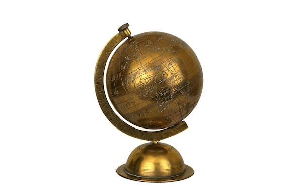 Vintage Brass World Map Globe, Earth Model, Office and Desk Decor