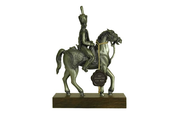 Pewter Soldier on Horseback Figurine, Collectible Military Horse Model Figure