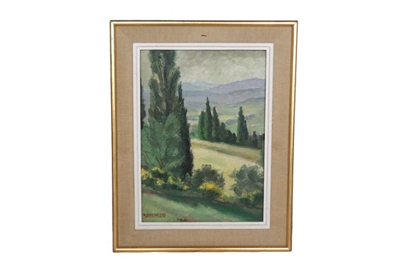 Provence Country Landscape Painting with Cypress Trees by Antonin Barthelemy, French Scenic Art