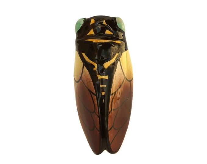 Mid Century Vallauris Pottery Cicada Wall Vase, French Provencal Pottery Cigale Insect, Garden Decor