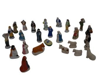 French Feves Christmas Nativity Set, 25 Ceramic Miniature Figurines
