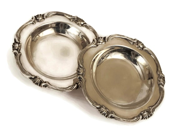 Sterling Silver Coin Trays by Del Pilar, Pair of Vintage Peruvian Silverware Pin Dishes