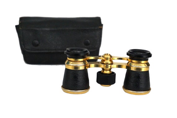 Mid Century French Opera Glasses, Theater Magnifying Binoculars in Case