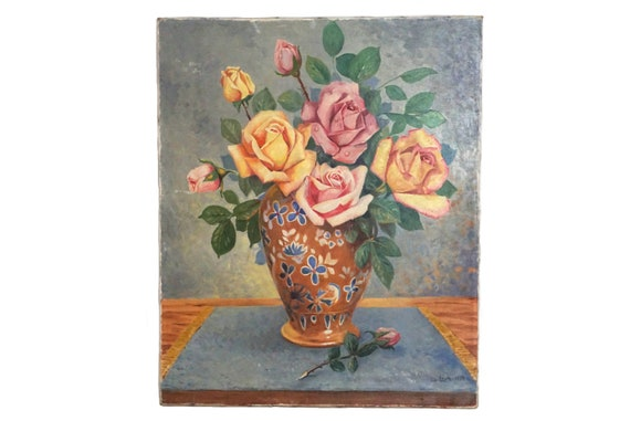 French Rose Flowers in  Vase Still Life Painting, Floral Bouquet Art