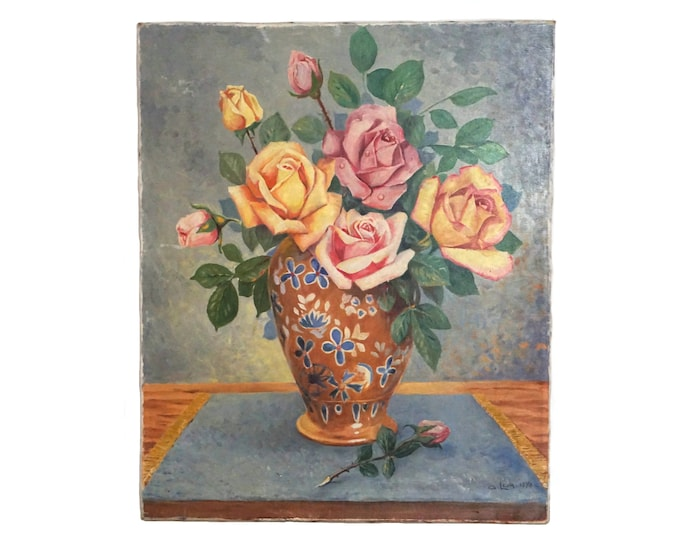 Rose Flowers Still Life Painting, French Floral Bouquet in Vase Art