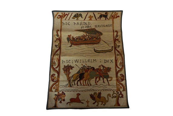 Bayeux Tapestry Reproduction, French Vintage Harold and William Woven Wall Hanging by Jules Pansu