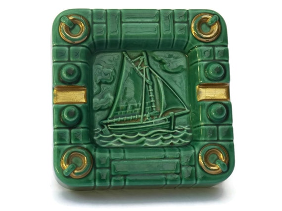 French Art Deco Gold and Green Glazed Ceramic Ashtray with Sailing Boat.