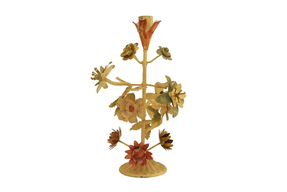 French Tole Flower Candle Holder with Stand, Shabby Toleware Mid Century Home Decor