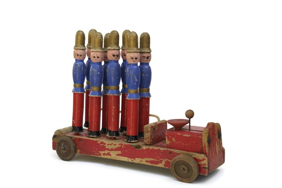 Antique Firefighter Toy Bowling Pins. Hand Painted French Fire Truck and Fireman Wooden Skittles. Nursery and Boys Room Decor. Gifts For Him