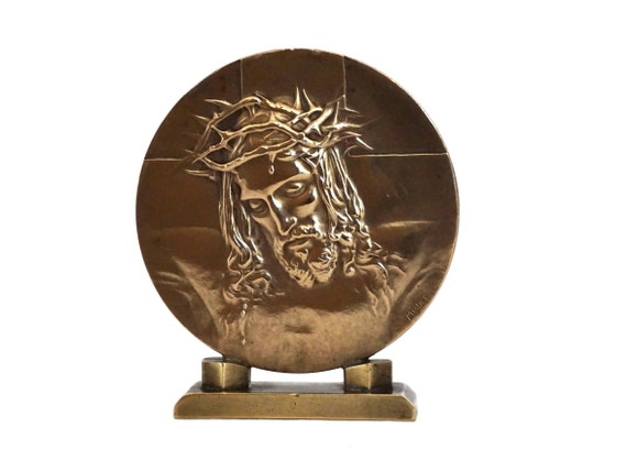 Antique Bronze Jesus Portrait Medallion Plaque by Henri Miault, French Catholic and Christian Gifts