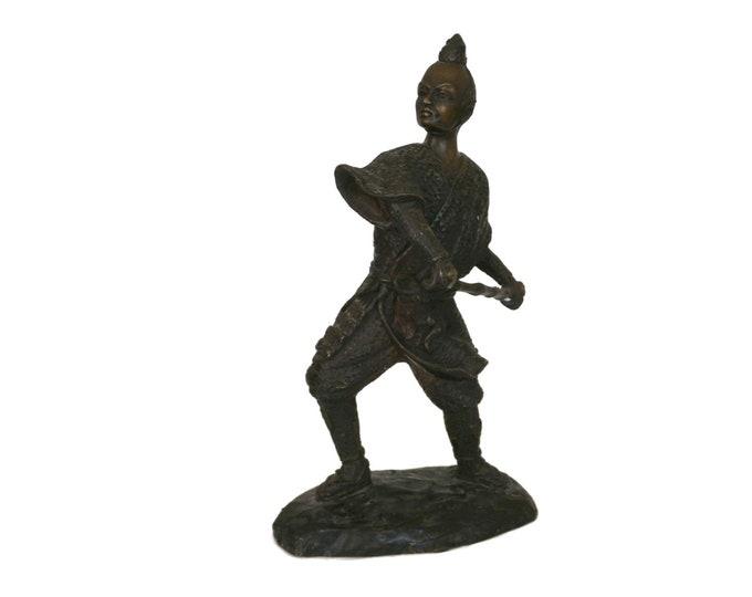 Vintage Bronze Japanese Samurai Statue, Asian Warrior Figurine, Martial Arts Decor