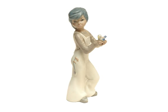 Porcelain Boy and Bird Statuette, Collectible 1970s China Statue