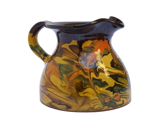Marble Glaze Pottery Pitcher, French Provencal Terracotta Jug