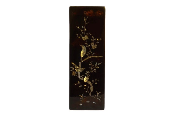 Lacquer and Mother of Pearl Panel with Birds in Tree, Vintage Asian Lacquerware Art and Home Decor