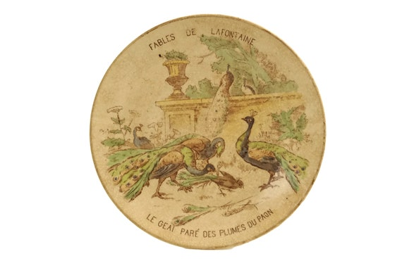 Fables of La Fontaine Antique Wall Plate, The Jay and The Peacock