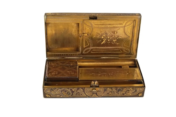 Antique Travelling Inkwell and Writing box, 19th Century Desk Accessory