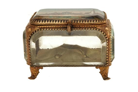 Antique French Glass Casket Jewelry Box,  Nice Souvenir Box