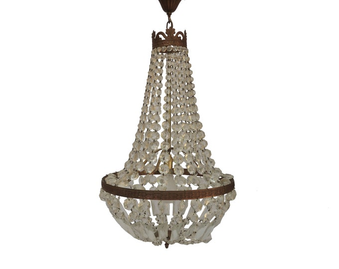 Antique French Crystal Chandelier, Large Hot Air Balloon Hanging Light Fixture