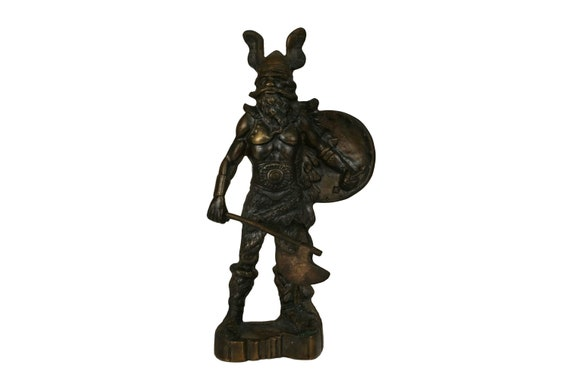 Vintage Brass Viking Statuette, Nordic Warrior with Axe Figure, Norseman Figurine