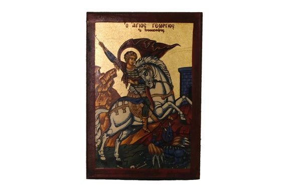 Vintage St George Byzantine Orthodox Icon, Saint Slaying Dragon Hand Painted Wall Plaque