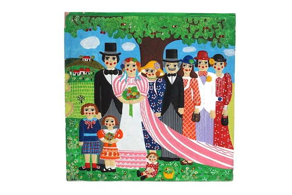 Folk Art Wedding Family Portrait, French Vintage Naive Hand Painted Wall Hanging Plaque