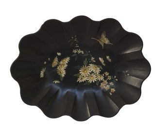 Antique French Paper Mache Fruit Basket, Napoleon III Style Scalloped Oval Bowl with Flowers and Butterfly