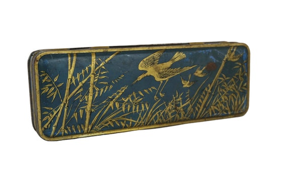 French Antique Tin Box with Bird and Bamboo Print, Art Deco Storage