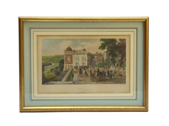 Antique Paris Art Print Engraving, 19th Century Framed French Art