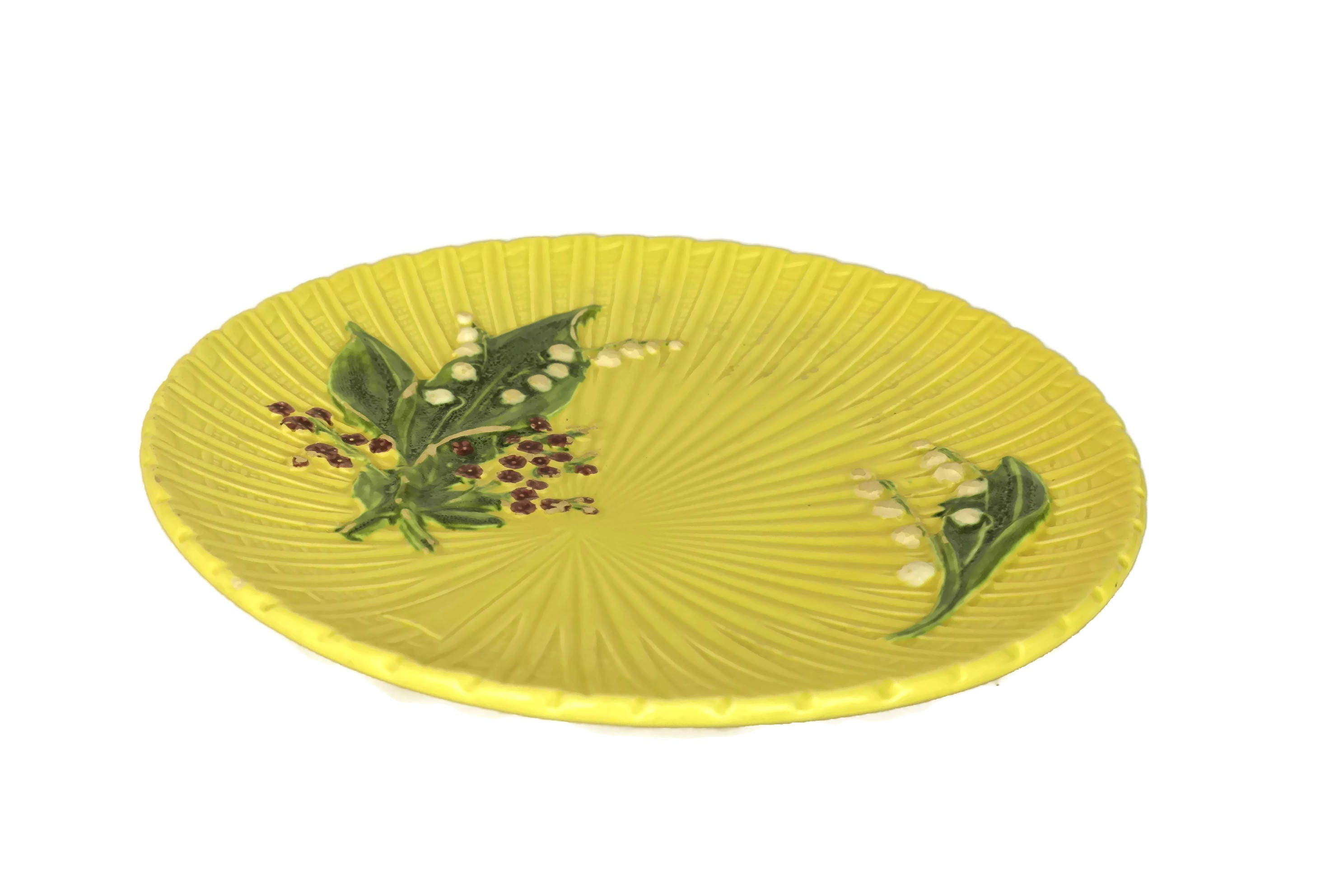 Schramberg Majolica Lily of the Valley Plate. Yellow Ceramic Wall ...