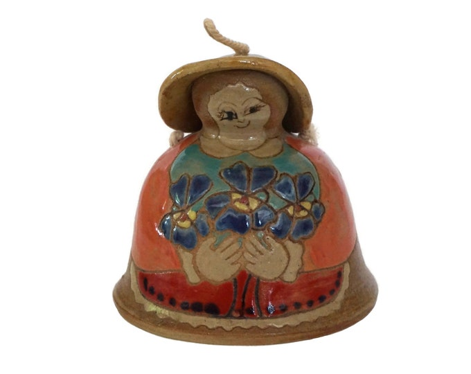 Pottery Lady with Flowers Doorbell, Hand Painted Ceramic Figurine Hanging Garden Bell