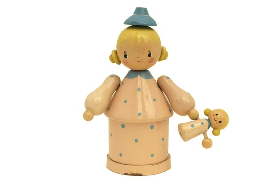 Wooden Doll with Doll Money Box. French Vintage Coin Bank. Nursery & Bedroom Decor. Gifts for Girls.