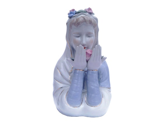 Virgin Mary Porcelain Bust Statue, Roses Crown Madonna Figure