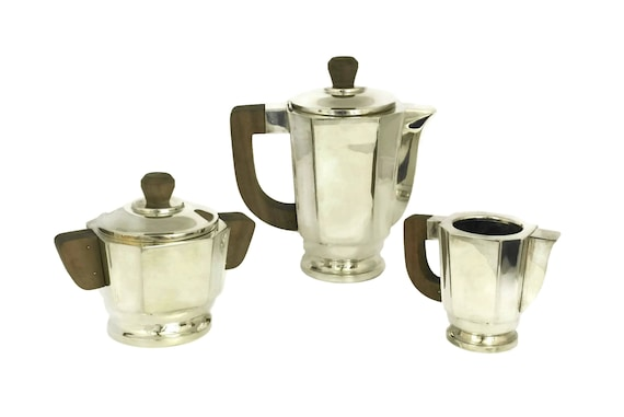 French Art Deco Silver Coffee Set,  Vintage Coffee Pot, Sugar Bowl and Creamer