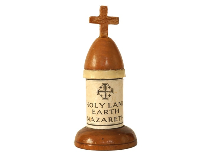Holy Land Earth Soil From Nazareth with Wooden Cross, Vintage Christian Reliquary