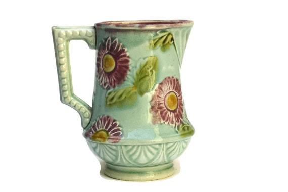 Antique Green Majolica Bamboo Pitcher.