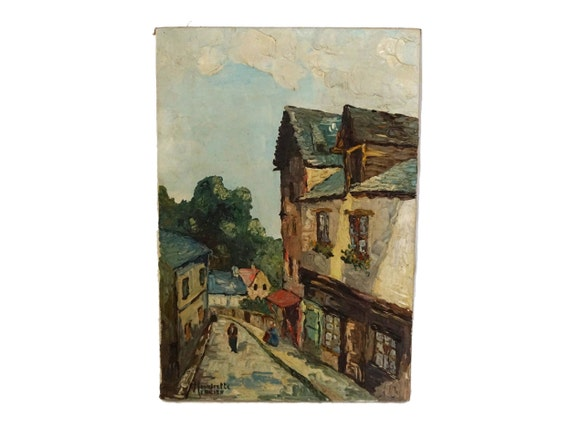 French Country Village Painting, Original Signed Impressionist Art