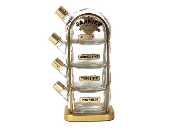 Garnier French Liqueur Decanter Bottle Set, Mid Century Barware
