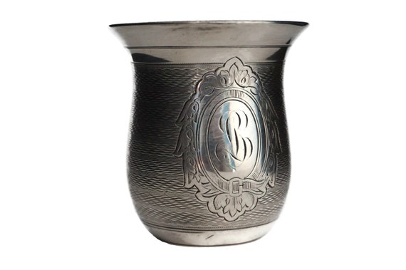 French Antique Silver Baby Cup with Engraved Monogram Initial BL