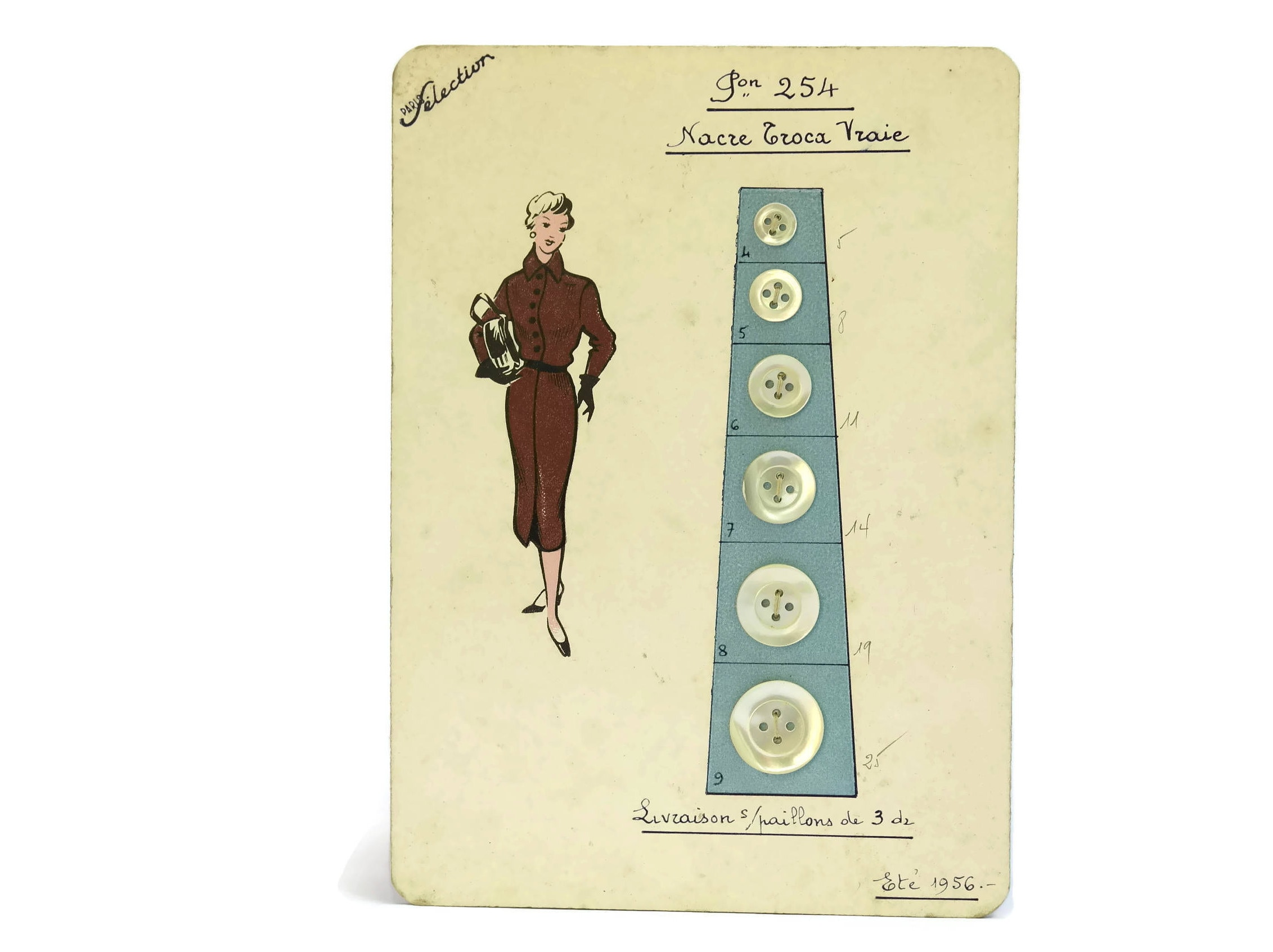 French Vintage Fashion Buttons Sample Card