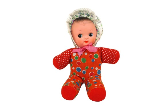 Pixie Rag Doll with Rubber Face, Vintage French Squeak Cloth Baby Figurine