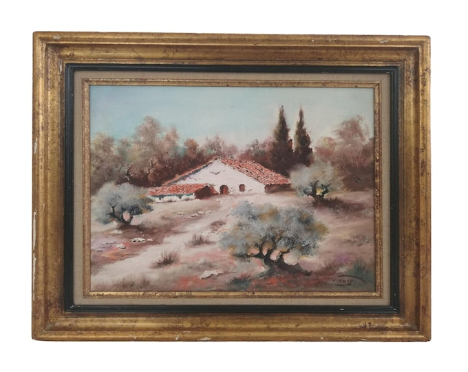 French Farmhouse in Country Landscape Painting, Provence Home Decor and Wall Art