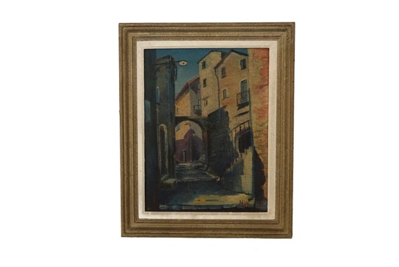 French Country Village Street Scene Painting, Original Signed Provencal Art