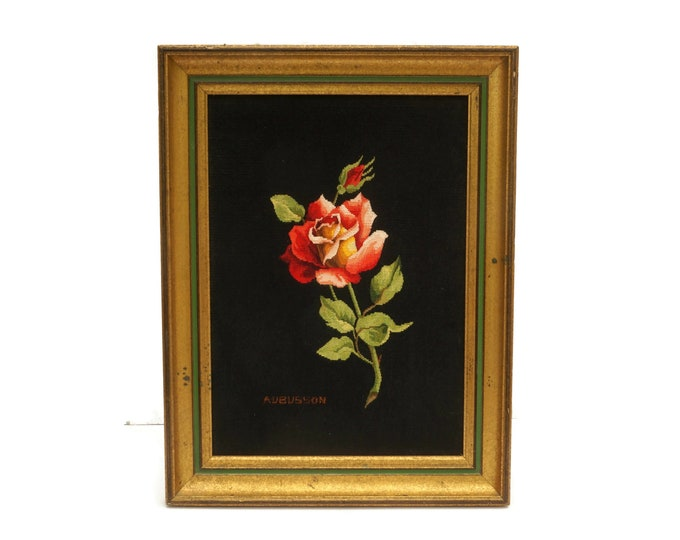 French Aubusson Needlepoint Tapestry with Red Rose, Framed Flower Wall Hanging Art