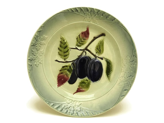Antique French Majolica Fruit Plate, Country Kitchen Leaf and Plum Wall Decor