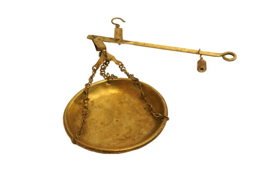 Antique Brass Steelyard Hanging Balance Scale with Single Pan, Beam, Weight and Hook