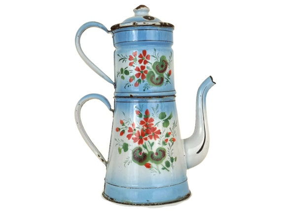French Blue Enamel Coffee Pot with Geranium Flowers