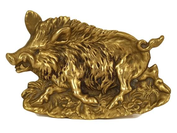 Antique Bronze Wild Boar Figure Coin Dish