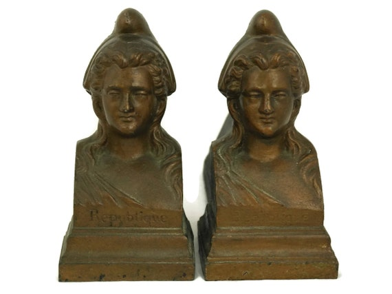 Antique French Marianne Republic Andirons, Woman's Portrait Busts, Cast Iron Firedogs, Fireplace Decor